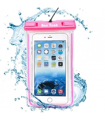Waterproof Case, Ace Teah Clear Universal Waterproof Case, Pouch Perfect Dry Bag / Durable Snowproof Dirtproof Protection for iPhone 6 6s Plus, Samsung Galaxy s4 s5 s6 S7 edge, Note 3 4 5 - Pink