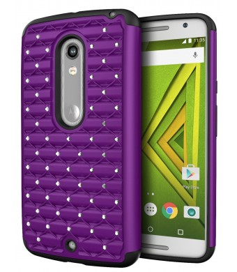 DROID MAXX 2 Case, Cimo [Shockproof] Heavy Duty Shock Absorbing Hybrid Stud Rhinestone Bling Dual Layer Protection Cover for Motorola Verizon DROID MAXX 2 / Moto X Play (2015) - Purple