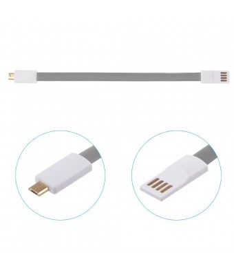 ShopAction Flat Noodle Micro USB Charger Sync Data Cord with magnetic ends for Samsung Galaxy S3 S4 S5 Note H