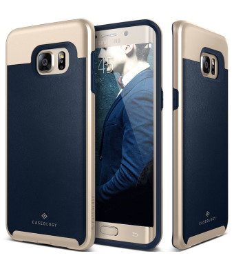 Caseology Slim Leather Bumper Cover for Samsung Galaxy S6 Edge Plus- Leather Navy Blue