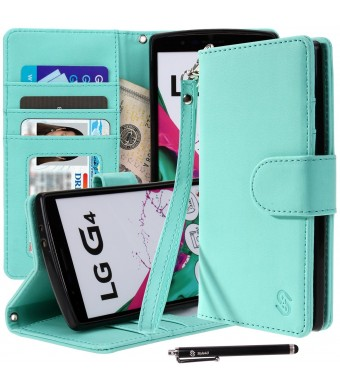 LG G4 Case, Style4U Premium PU Leather Stand Wallet Case with ID Credit Card / Cash Slots for LG G4 + 1 Stylus [Mint Green]
