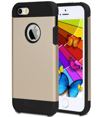 iPhone 5S Case, ELOVEN Ultra Slim Exact Fit Hybrid Dual Layer Impact Resistant Non-Slip TPU Shockproof Durable Armor Super Protection Bumper Case Skin for Apple iPhone 5S/5 Gold