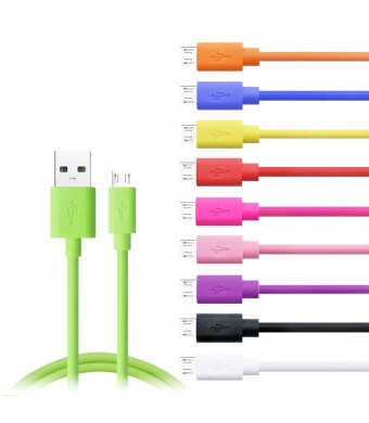 Micro USB Cable, Eversame 10-Pack (1ft/30CM) Short PVC High Speed Charging Cable For LG Phone, Samsung, HTC and more - Black White Purple Pink Hot Pink Red Yellow Blue Green Orange