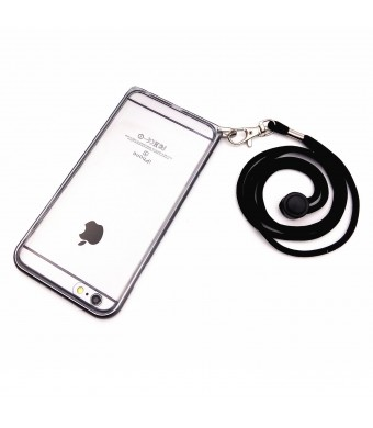 Lanyard Case With Removable Neck Strap for Apple iPhone 6s, Cellphone Wrist Strap Dual Layer Protection Shell Case With PU Leather Pouch (Space Gray)