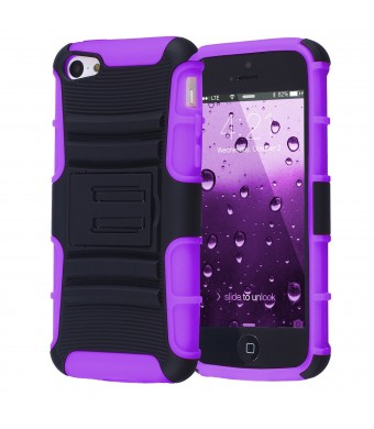 iPhone 5C Case, CHTech Hybrid Dual Layer Shock Defender Protective Case Cover for Apple iPhone 5C (Purple)