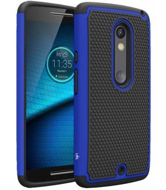 Droid Maxx 2 Case, LK [Shock Absorption] Drop Protection Hybrid Dual Layer Armor Defender Protective Case Cover for Motorola Droid Maxx 2 (Blue)