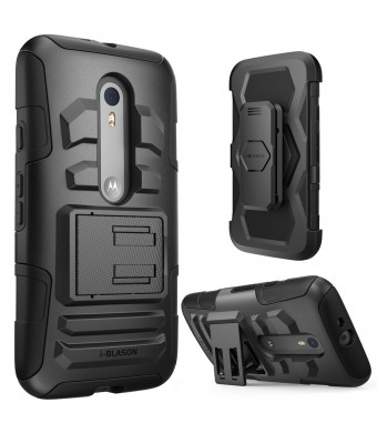 Moto G 3rd Generation Case, i-Blason Prime Series Dual Layer Holster For Moto G 3 Gen 2015 Release with Kickstand and Locking Belt Swivel Clip (Black)