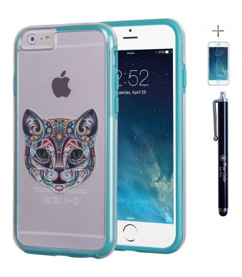 "iPhone 6 Plus, 6s Plus Case 5.5"" True Color Cat Tattoo Design on Clear Transparent Hybrid Cover Hard + Soft Slim Thin Durable Protective Shockproof Impact TPU Bumper - Teal"