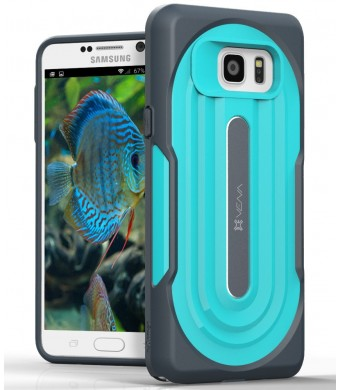 Samsung Galaxy Note 5 Rugged Case - VENA [vArmor] Ultimate Protection [Slim | Heavy Duty] Hybrid Case Cover for Samsung Galaxy Note 5 (Dark Gray / Turquoise Teal)