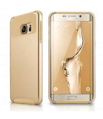 Samsung Galaxy S6 Edge Plus Case, EMobile Hybrid Dual Layer Shockproof Case For Samsung Galaxy S6 Edge Plus TPU PC 2 Piece Soft Hard Cover (Gold/Gold)