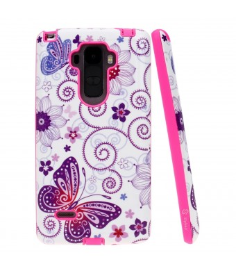 Style4U Slim Fit Hybrid Case for LG G Stylo/LG G4 with 1 Stylus - Butterfly Hot Pink
