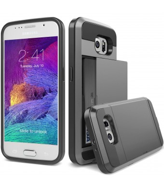 S6 Case, TekSonic Samsung Galaxy S6 Case (Gunmetal) Armor Series [Card Slide Slot][Drop Protection][Heavy Duty][Wallet] Full Cover Protection Tough Case for Samsung Galaxy S6 (Dark Silver)
