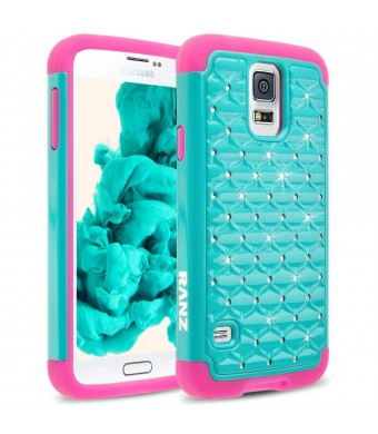 Galaxy S5 Case, RANZ Hot Pink/ Turquoise Mint Spot Diamond Studded Bling Crystal Rhinestone Dual Layer Hybrid Cover Hard Case For Samsung Galaxy S5 I9600 (Verizon, ATandT Sprint, T-mobile)