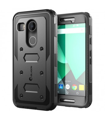Nexus 5X Case, [Heavy Duty] i-Blason Google Nexus 5X Phone Case Armorbox [Dual Layer] Hybrid Full-body Protective Case with Front Cover and Builtin Screen Protector / Bumper (Black)