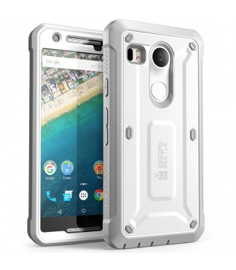 Nexus 5X Case, SUPCASE [Heavy Duty] Belt Clip Holster Case for Google Nexus 5X (2015 Release) [Unicorn Beetle PRO Series] Full-body Rugged Hybrid Protective Cover with Screen Protector (White/Gray)