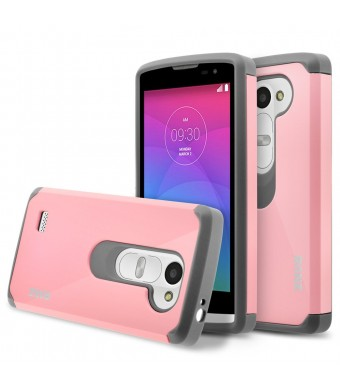 LG Leon Case, LG Tribute 2 Case, RANZ Grey With Pink Hard Impact Dual Layer Shockproof Bumper Case For LG Leon LTE C40/ Tribute 2 (LS665)/ Destiny L21G/ Power L22C/ Risio