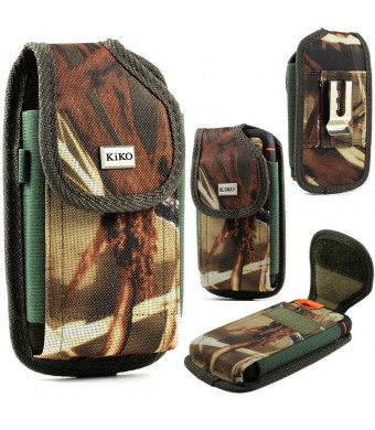 Reiko XXL SIZE Apple iPhone 5S, 5C, 5, iPhone 4S, 4 Camouflage Nylon Belt Clip Holster Pouch Case Cover