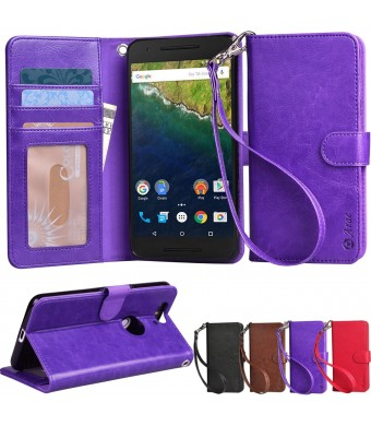 Nexus 6P case, Arae Huawei Nexus 6P wallet case,[Wrist Strap] Flip Folio [Kickstand Feature] PU leather wallet case with IDandCredit Card Pockets for Google Nexus 6P (Brown)