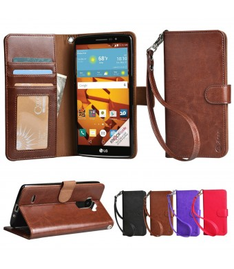 LG G stylo Case, Arae LG G stylo wallet case,[Wrist Strap] Flip Folio [Kickstand Feature] PU leather wallet case with IDandCredit Card Pockets For LG G stylo (Brown)