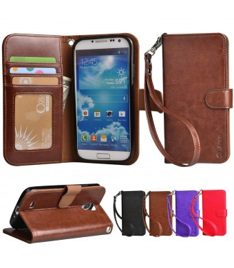 S4 Case, Arae Samsung Galaxy S4 wallet case, [Wrist Strap] Flip Folio [Kickstand Feature] PU leather wallet case with IDandCredit Card Pockets For Samsung Galaxy S4 I9500 (Brown)