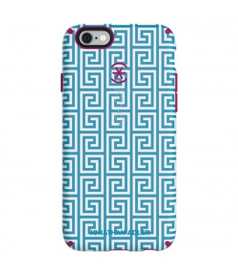 Speck Products CandyShell Inked Jonathan Adler Cell Phone Case foriPhone 6/6S - Retail Packaging - AquaGreekKey/Lipstick Matte