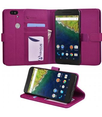 Nexus 6P Case, Abacus24-7 Google Nexus 6P Wallet Case, Leather Flip Cover, Card Holder and Kicksta