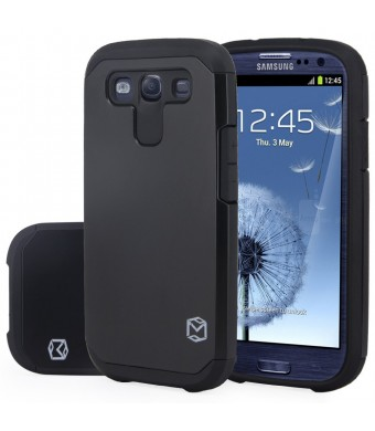 S3 Case, MP-Mall [Dual Layer] [Shockproof] Armor Hybrid Defender Anti-Drop Rugged Premium Protective Case Cover Fit For Samsung Galaxy S3 (Black)