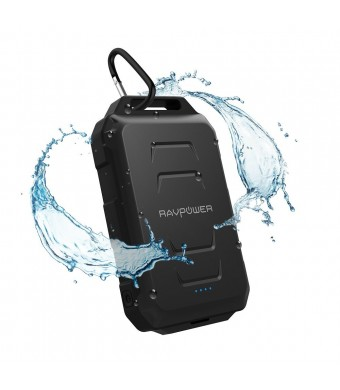 RAVPower 10050mAh Portable Charger Outdoor External Battery Pack Waterproof Dustproof and Shockproof Rugged (Premiun Battery Cell) Built-in Flashlight; iSmart Technology - Black