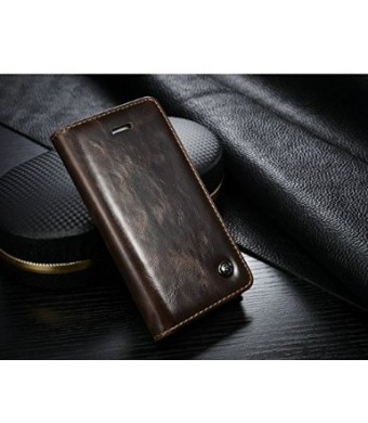Case Me Iphone 6s Plus Case, Luxury Wallet Magnetic Flip Cover Leather Case for Iphone 6s Plus (Brown)