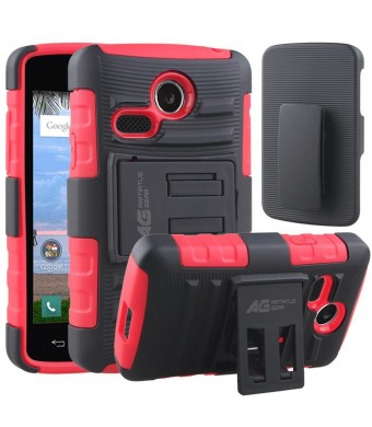 LG Sunrise Case, LG Lucky Case - Armatus Gear (TM) Tactical Hybrid Armor Case Holster Combo Dual Layer Protector with Kickstand For NET10 LG Sunrise L15G and TRACFONE LG Lucky L16C - Red/Black