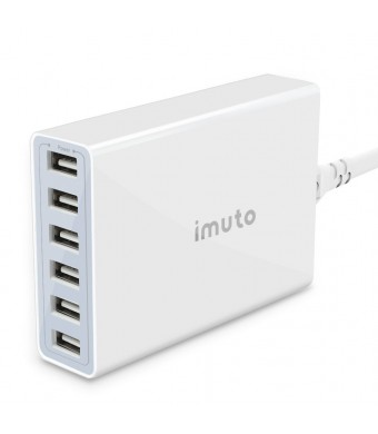 imuto 6-Port USB Charger with 50W/10A for Tablets and Smartphones - White