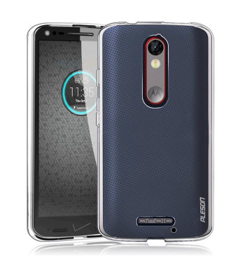 Droid Turbo 2 Case, PLESON [Tou] Motorola Droid Turbo 2/Moto X Force Case Cover, Crystal Clear/Ultra-Thin/Lightweight/Exact Fit/NO Bulkiness Clear Back Panel+Soft Bumper Case for Droid Turbo 2 (2015)
