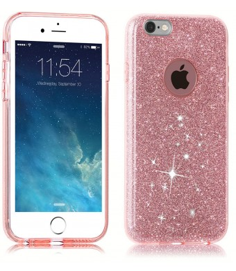 TOZO Case for iPhone 6s SHINY Series [Bling Crystal] Ultra Thin Sparkle Premium 3 Layer Hybrid Semi-transparent Lightweight / Exact Fit / Soft Case for iPhone 6 (2014) / 6s (2015) - 4.7 Pink