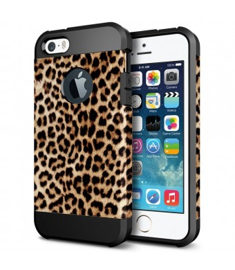 iPhone 5S Case, LOEV Slim Fit Shockproof iPhone 5S Protective Case [Soft TPU and Hard PC] Dual Layer Hybrid Armor Shell Soft Rubber Bumper Case Cover for Apple iPhone 5s and iPhone 5 - Leopard Print