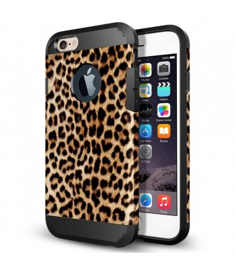 iPhone 6s Plus Case, LOEV Slim Fit Shockproof iPhone 6s Plus Protective Case [Soft TPU and Hard PC Back] Dual Layer Hybrid Armor Rubber Bumper Case Cover for Apple iPhone 6 Plus 6s Plus - Leopard Print