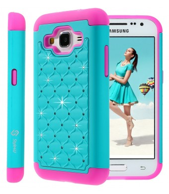Galaxy Core Prime Case, Style4U Studded Rhinestone Crystal Bling Hybrid Armor Case Cover for Samsung Galaxy Core Prime G360 with 1 Style4U Stylus [Teal / Hot Pink]