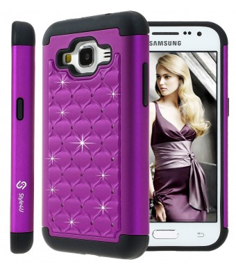 Galaxy Core Prime Case, Style4U Studded Rhinestone Crystal Bling Hybrid Armor Case Cover for Samsung Galaxy Core Prime G360 with 1 Style4U Stylus [Purple / Black]