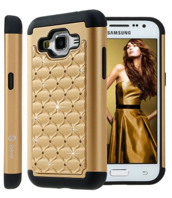 Galaxy Core Prime Case, Style4U Studded Rhinestone Crystal Bling Hybrid Armor Case Cover for Samsung Galaxy Core Prime G360 with 1 Style4U Stylus [Gold / Black]