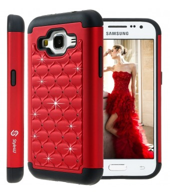 Galaxy Core Prime Case, Style4U Studded Rhinestone Crystal Bling Hybrid Armor Case Cover for Samsung Galaxy Core Prime G360 with 1 Style4U Stylus [Red / Black]