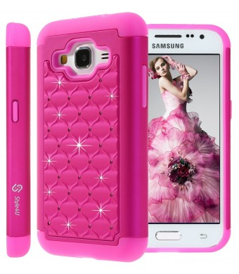 Galaxy Core Prime Case, Style4U Studded Rhinestone Crystal Bling Hybrid Armor Case Cover for Samsung Galaxy Core Prime G360 with 1 Style4U Stylus [Hot Pink / Hot Pink]