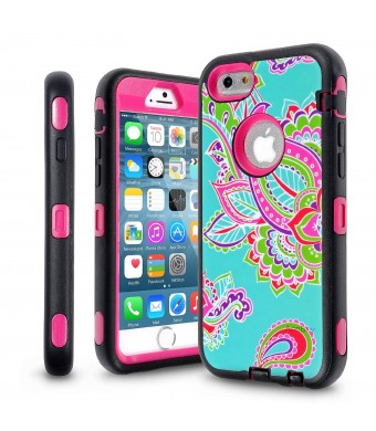 iPhone 6 Plus Case, iPhone 6 Plus 5.5 Inch Case,AnnBay for iPhone 6 Plus ThreeLayers Colour Hawaiian 3in1 Hybrid HighImpact ShockProof Hybrid Heavy Duty Armor Case Cover (Totem Tribal Flower Hot Pink)