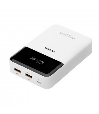 Pisen 10000mAh LCD Display Power Bank with 1A+2.4A Dual USB Port Universal Portable Charger Fasting Charger for iPhone, Samsung and More