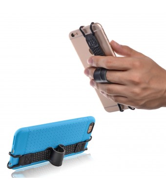 TFY Security Hand Strap with Leather Belt Holder Stand for iPhone 5(s) - 6 / 6S (Plus) - iPhone SE -Samsung Galaxy S4 (I9500) / S5(g900) / S7 / S7 Edge - Galaxy Note 2 / 3 / 4 - Nexus 5 / 6 and More
