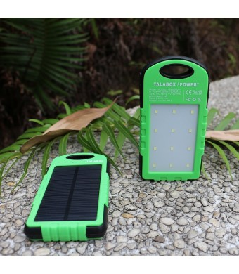 Solar Charger 8000mAh TALABOX Power Bank Dual USB Port Portable Charger with Outdoor Camping Lamp for iPhone,iPad,Cell Phone,Tablet,Waterproof,Dust-Proof and Shock-Resistant.(Green Frame)