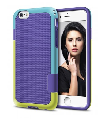 iPhone 6 Case, LoHi Hybrid Impact 3 Color TPU Shockproof Rugged Case [Extra Front Raised Lip] Back Strips Anti-slip [Protective Buffer] Dual Protection Cover Case for iPhone 6/6s 4.7 Inch (Purple)