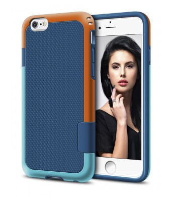 iPhone 6 Case, LoHi Hybrid [Dual Protection] Shock Absorption Bumper Case [Extra Front Raised Lip] Scratch-free Anti-slip Back Cover Case for iPhone 6/6s 4.7 Inch (Blue)