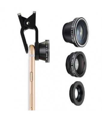Habor 3 in 1 Clip-On 180° Supreme Fisheye + 0.65X Wide Angle + 10X Macro Lens For iPhone, Samsung, HTC, etc