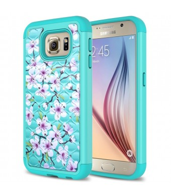 Galaxy S6 Case, Eflistone(TM) Samsung Galaxy S6 Beautiful Flower Pattern Design Slim Fit Cover with Soft TPU Hybrid Shockproof Protective Hard Case Cover for Samsung Galaxy S6 (case-2)