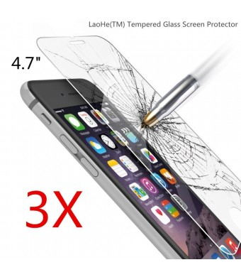 [3Pack] iPhone 6S Screen Protector, LaoHe(TM) [3D Touch Compatible - Tempered Glass] iPhone 6S/6 Glass Screen Protector Work with iPhone 6 / iPhone 6S / Most Protective Case [Lifetime Warranty]