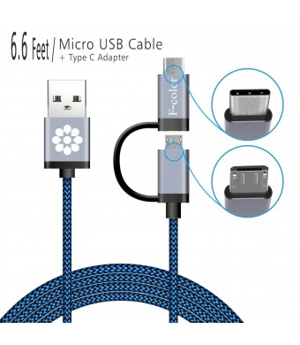 Fcolor Micro USB Cable, USB C to USB Adapter, 6.6 Ft Long F-color™ 2 in 1 Combo Design, Reversible Type C